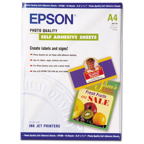 Carta fotografica inkjet adesiva 10fg 167gr 210x297mm a4 for Carta fotografica epson